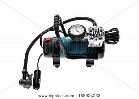 Air compressor isolated on white background. Closeup