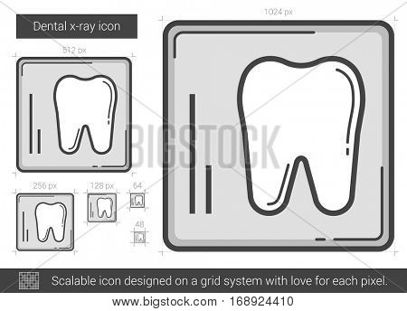 Dental x-ray vector line icon isolated on white background. Dental x-ray line icon for infographic, website or app. Scalable icon designed on a grid system.