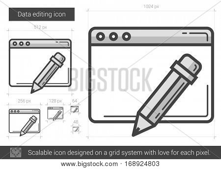 Data editing vector line icon isolated on white background. Data editing line icon for infographic, website or app. Scalable icon designed on a grid system.