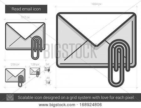 Read email vector line icon isolated on white background. Read email line icon for infographic, website or app. Scalable icon designed on a grid system.