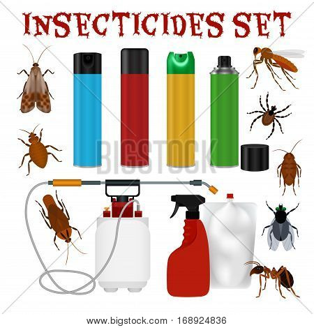 Pest control set with tick ant mosquito fly cockroach repellent and insecticide isolated on white background vector illustration