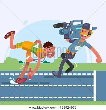 Athlete runner in motion.Cameraman using a professional camcorder.