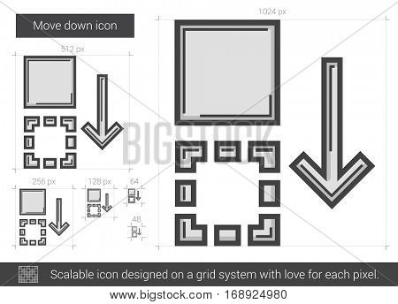 Move down vector line icon isolated on white background. Move down line icon for infographic, website or app. Scalable icon designed on a grid system.