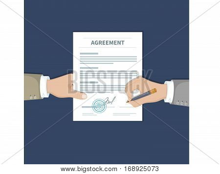Two businessman signing an agreement. One hand holds the document and the other signs. Successful financial partnership, teamwork concept. Conclusion of a contract. Top view. Vector illustration.