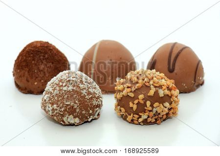 Big Luxury Chocolates bonbons with different topping and filling