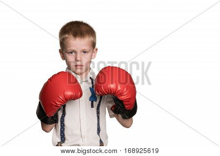 Little serious boy in shirt and red boxing gloves standing in a defensive stance isolated on white background