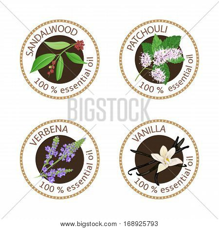 Set Of Essential Oils Labels. Sandalwood, Patchouli, Verbena, Vanilla