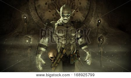Magical fantasy Orc warlock character with background