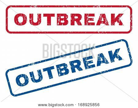 Outbreak text rubber seal stamp watermarks. Vector style is blue and red ink caption inside rounded rectangular banner. Grunge design and dust texture. Blue and red signs.