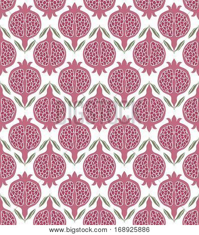 Pink floral pattern. Seamless vector ornament with pomegranate. Stylized template for wallpaper textile linen bedspread curtain shawl carpet and any surface.