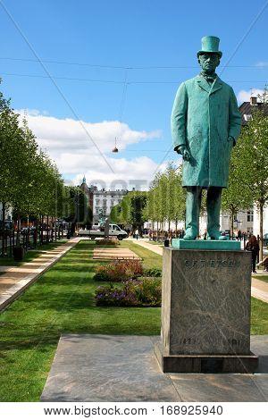 Copenhagen, aug 21. 2016 - Carl Frederik Tietgen in Copenhagen monument - Danish financier and industrialist