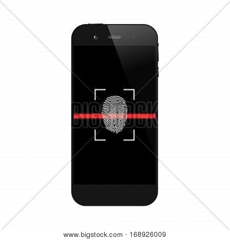 Smartphone with fingerprint scanning isolated on white background. Mobile or cell phone biometric authorization. Telephone security lock. Vector illustration.