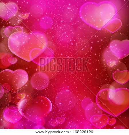 Abstract blurred light dots and hearts background in shades of dark red, purple, magenta and pink with light effects. Romantic love theme, perfect for Valentine's day.