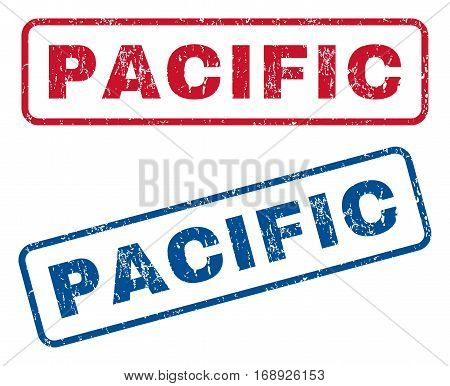Pacific text rubber seal stamp watermarks. Vector style is blue and red ink tag inside rounded rectangular shape. Grunge design and scratched texture. Blue and red signs.