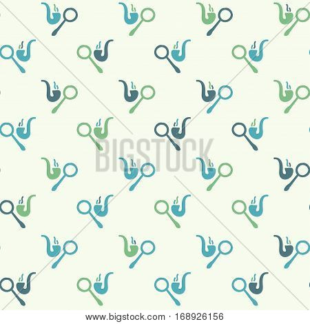 Vector hand drawn seamless pattern with smoking pipe and magnifier. Detective noir police theme. Colored detective pattern for textile paper book game cards banner web design.