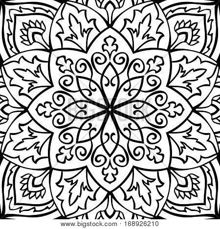 Filigree vector pattern. Oriental black and white ornament. Template for carpet shawl tile textile.