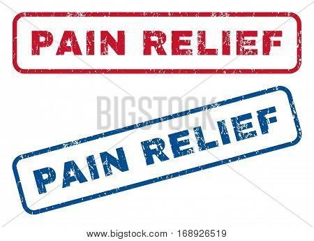 Pain Relief text rubber seal stamp watermarks. Vector style is blue and red ink caption inside rounded rectangular banner. Grunge design and scratched texture. Blue and red emblems.