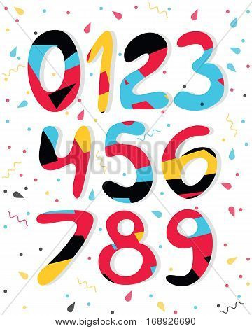 Vector cartoon colored numbers. Graphic numbers for paper web game design.