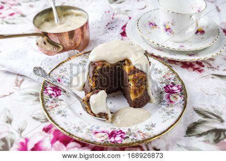 Orange Chocolate Cake with Rum Vanilla Sauce on Plate