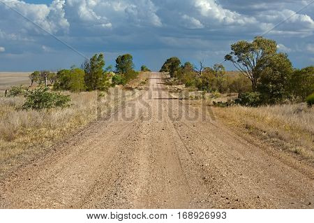 Gravel road throught dry Australian landscape