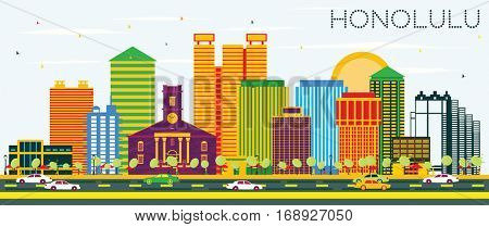 Honolulu Skyline with Color Buildings and Blue Sky. Vector Illustration. Business Travel and Tourism Concept with Modern Architecture. Image for Presentation Banner Placard and Web Site.