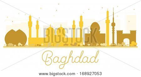 Baghdad City skyline golden silhouette. Vector illustration. Simple flat concept for tourism presentation, banner, placard or web site. Cityscape with landmarks