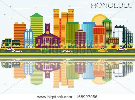 Honolulu Skyline with Color Buildings, Blue Sky and Reflections. Vector Illustration. Business Travel and Tourism Concept with Modern Architecture. Image for Presentation Banner Placard and Web Site.
