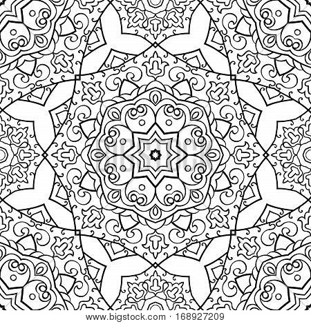 Seamless vector background. The pattern with mandalas. Oriental black and white ornament. Template for carpet shawl textile.