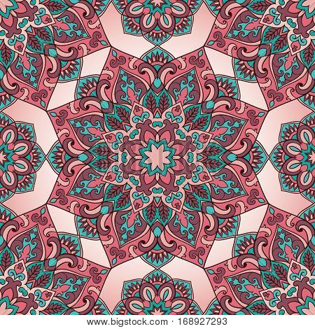 Seamless pattern of mandala on a pink background. Colorful oriental ornament. Template for carpet shawl wallpaper embroidery textile.