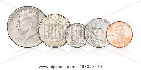 Set Of Us Coins Isolated