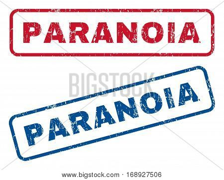 Paranoia text rubber seal stamp watermarks. Vector style is blue and red ink tag inside rounded rectangular banner. Grunge design and scratched texture. Blue and red stickers.