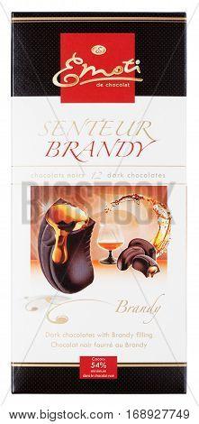 Emoti De Chocolat Senteur Brandy - Dark Chocolate Bar With Brandy Isolated On White