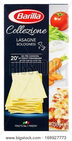 Front View Of Barilla Collezioni Lasagne Italian Pasta Isolated On White