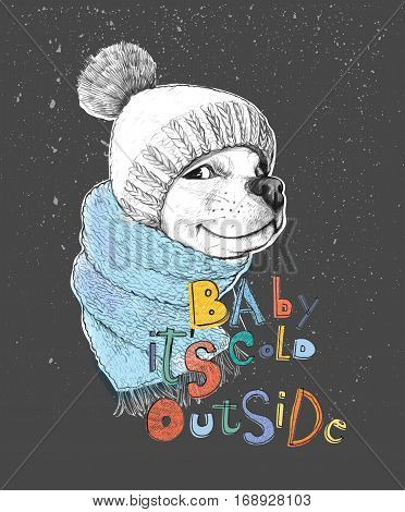 Cute dog in a hat and scarf. Baby it's cold outside phrase. Hand-drawn illustration of a pencil technique. Design for poster, T-shirt print, cards, banners. Vector illustration