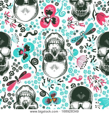 Floral seamless pattern with monochrome human skulls in woodcut style and cute decorative flowers and insects on background. Vector illustration for wallpaper, textile print, wrapping paper.