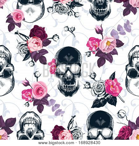 Floral seamless pattern with monochrome human skulls in woodcut style and colored wild roses on background. Vector illustration for wallpaper, textile print, wrapping paper.