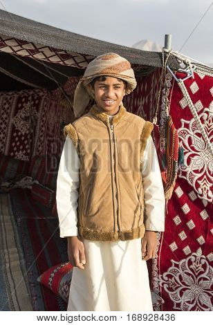 Muscat Oman February 4th 2017: young omani man in traditional clothing