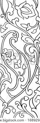 Black and white floral pattern. Filigree elegant ornament. Stylized template for wallpaper textile shawl tile carpet and any surface. Pattern with stylized birds.