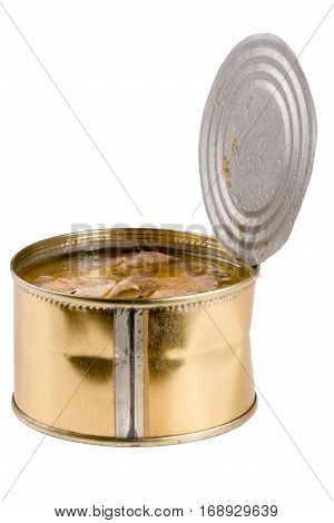 open tin can with fish pilchard isolated on white background.