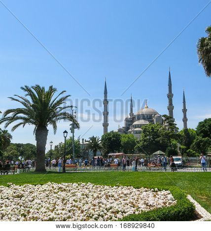 ISTANBUL TURKEY - MAY 20 2016 - Blue Mosque in Sultanahmet in Istanbul Turkey. More than 32 million tourists visit Turkey each year. A popular tourist site the Sultan Ahmed Mosque continues to function as a mosque today