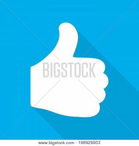 Thumb up icon with long shadow on blue background. Vector illustration. White thumb up in flat design.