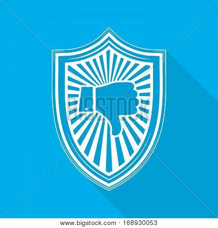 White shield with dislike hand icon on blue background. Shield icon in flat style with long shadow. Vector illustration.