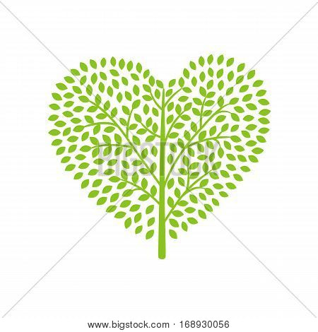 environmental icon green shrub in the shape of a heart