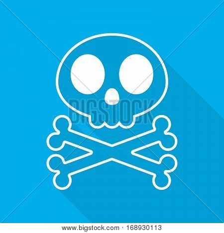 White human skull with crossbones. Abstract skull with long shadow on blue background. Vector illustration