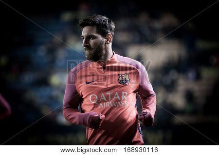 VILLARREAL, SPAIN - JANUARY 8: Leo Messi during La Liga soccer match between Villarreal CF and FC Barcelona at Estadio de la Ceramica on January 8, 2016 in Villarreal, Spain