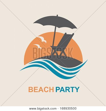 Emblem of summer vacation with reclining chair and umbrella on island. Vector illustration