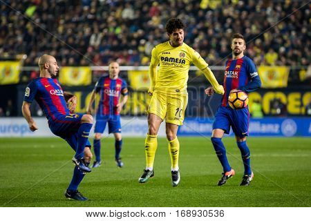 VILLARREAL, SPAIN - JANUARY 8: 10 Pato during La Liga soccer match between Villarreal CF and FC Barcelona at Estadio de la Ceramica on January 8, 2016 in Villarreal, Spain