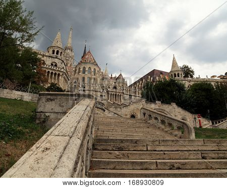 View of the eastern stairway entrance up to Fisherman's Bastion, Budapest, Hungary.