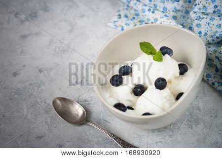 Vanilla Ice Cream with blueberries in bowl Summer  refreshing dessert. Top view
