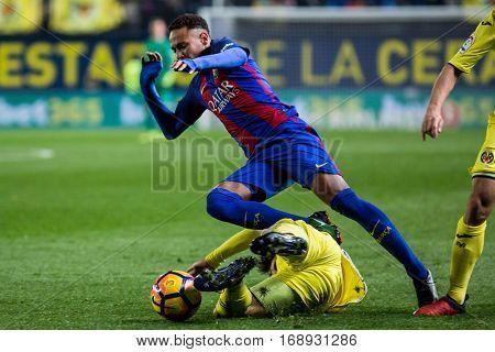 VILLARREAL, SPAIN - JANUARY 8: Neymar during La Liga soccer match between Villarreal CF and FC Barcelona at Estadio de la Ceramica on January 8, 2016 in Villarreal, Spain